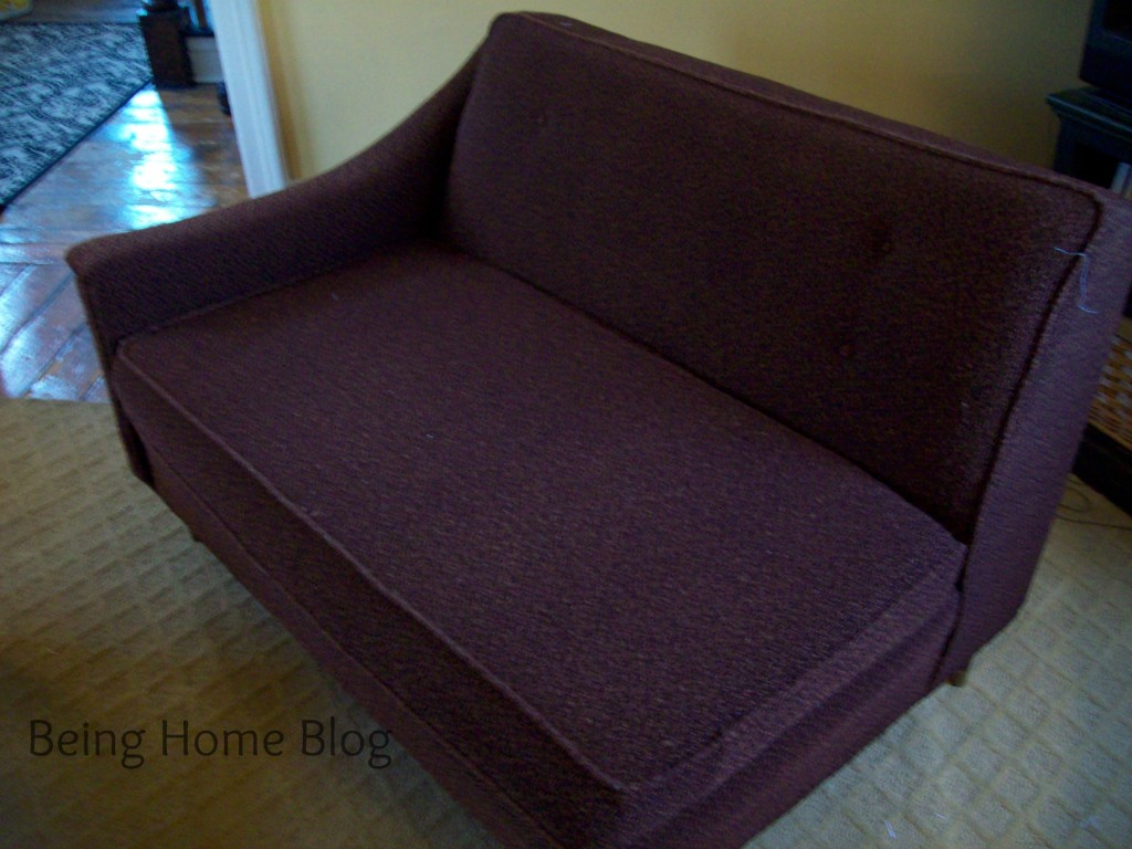 DIY slipcover before photo